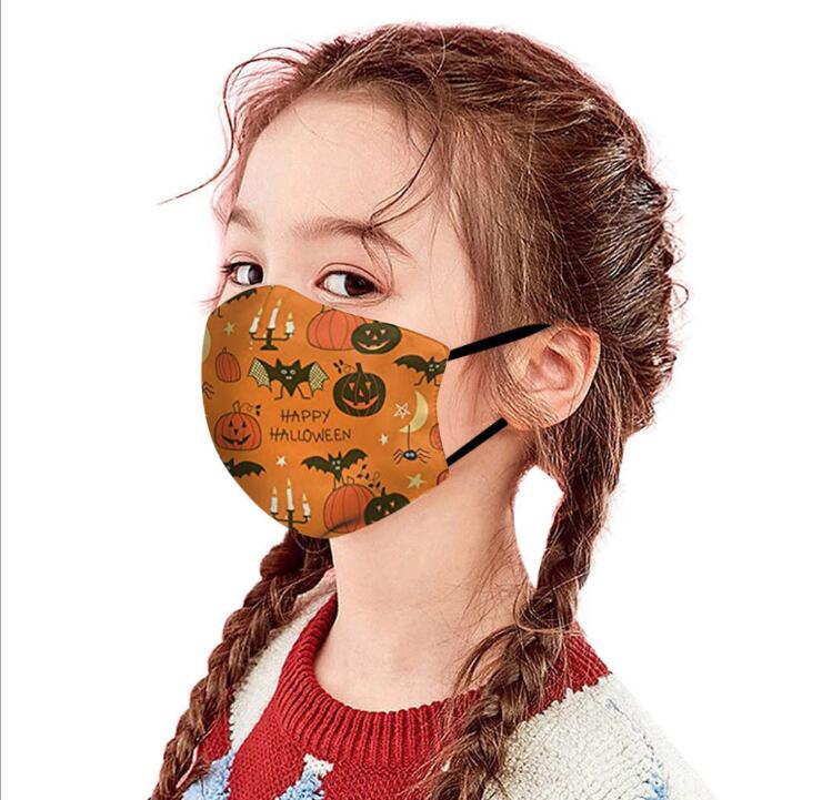 Kids Halloween Face Mask Cartoon 3D Pumpkin Protective Face Cover Adjustable Mouth Mask Reusable Face Cover Washable Dustproof Masks YL267