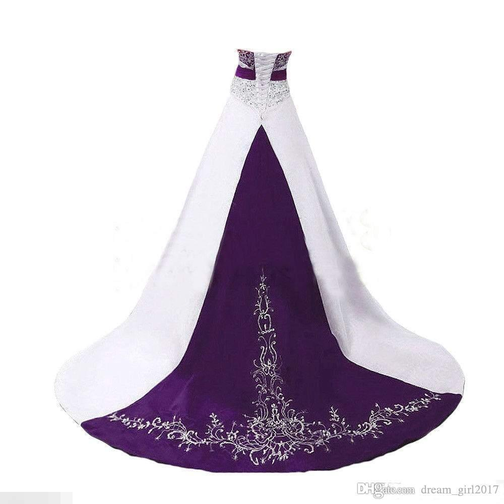 Elegant Wedding Dresses 2018 A Line Strapless Beaded Embroidery White Purple Bridal Gown Custom Made Elegant Wedding Party Dresses
