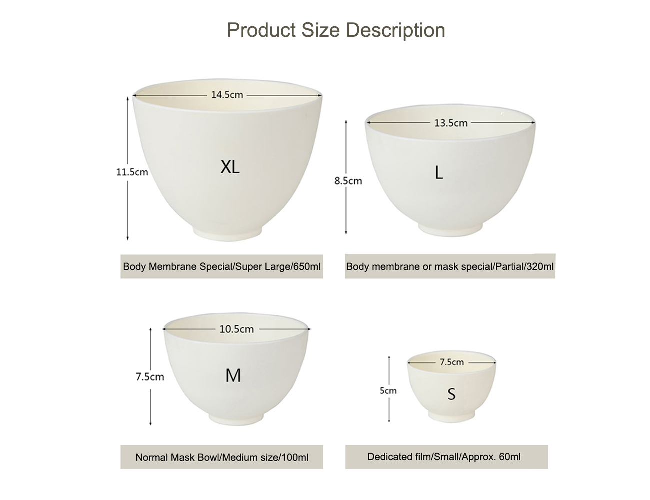 Elitzia ETBWP001 Mask Tools Silicone Soft Mask Bowl Adjust Film Bowl Set Beauty Salon Soft Film Powder Necessary Supplies White Color 4 Size
