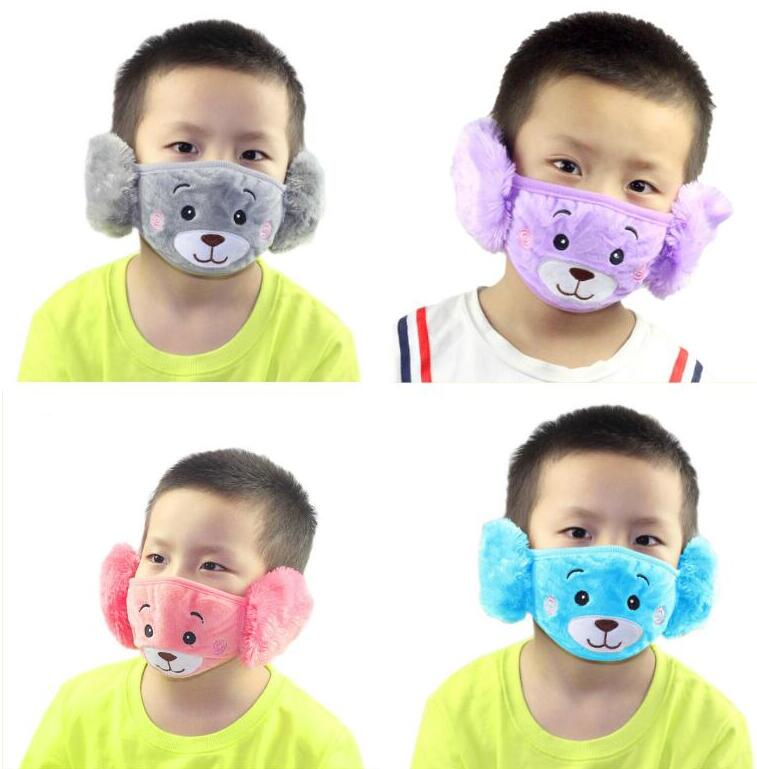2 In 1 Child Cartoon Bear Face Mask With Plush Ear Protective Thick And Warm Kids Mouth Masks Winter Mouth-Muffle For Party Favors