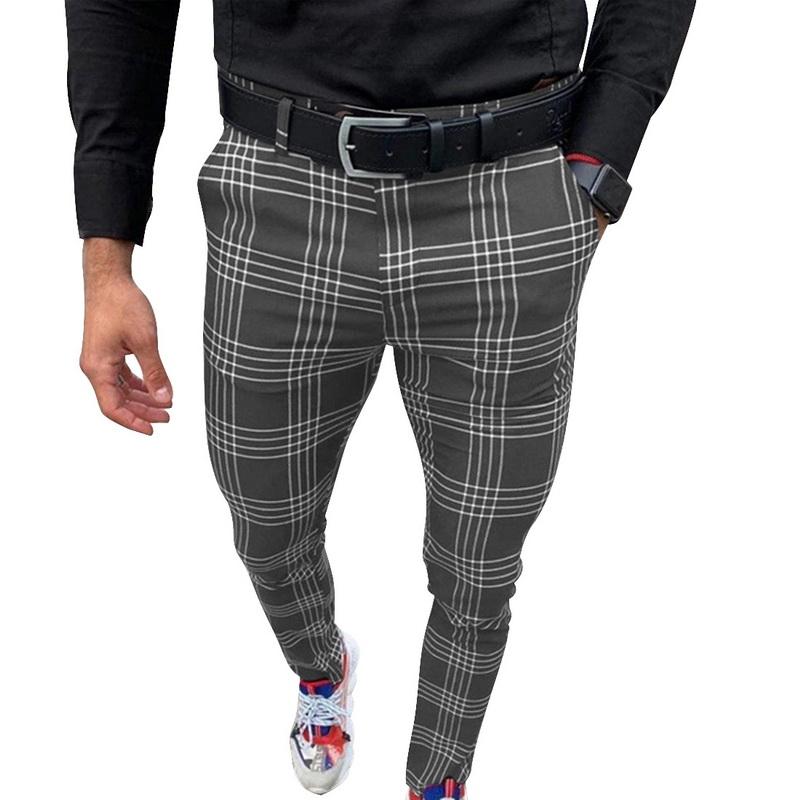 Litthing Mens Casual Pants Plaid Grey Mid Waist London Fashion 2020 Men Chinos Trousers Skinny Muti-color Tretch Pants Slim Fit