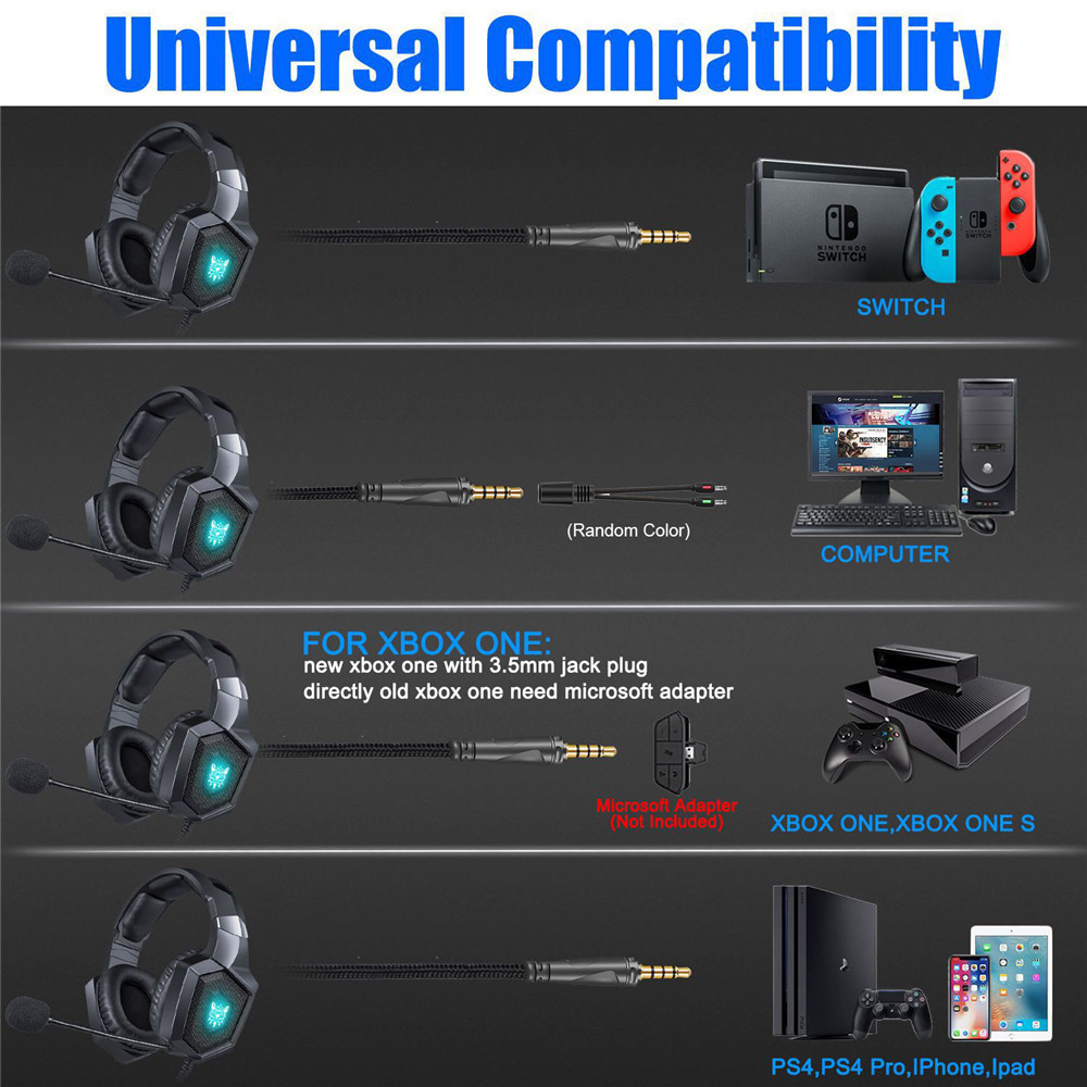 3.5mm Gaming Headphones casque Stereo Earphone Headset with Mic LED Light for Laptop Tablet PS4 Gamepad (6)