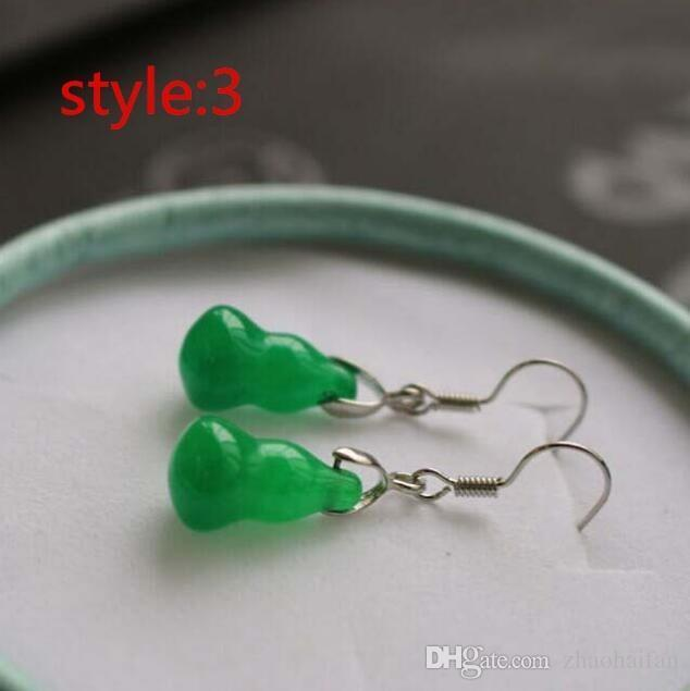 100% Natura China Bisuteria Top Titanium steel Jewelry Vintage Retro Green Jade Big Earrings For Women