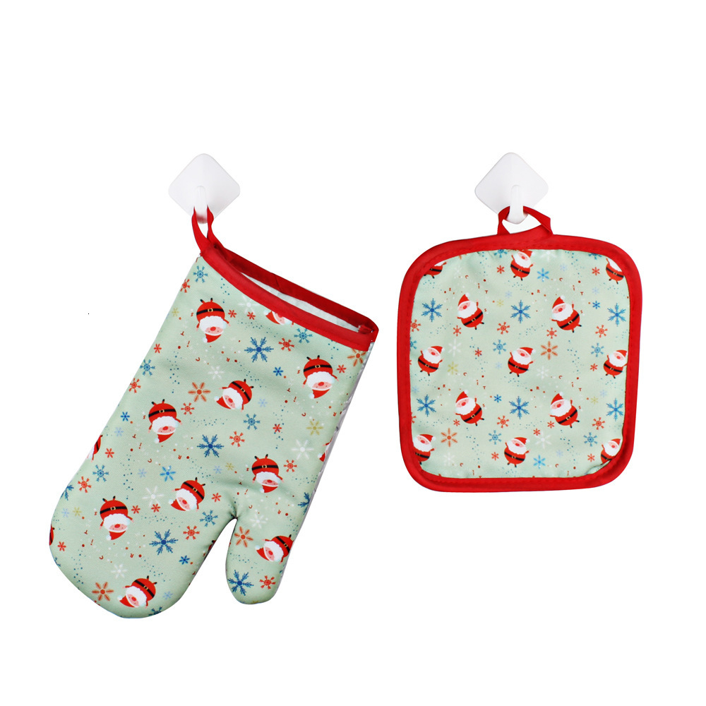 Christmas Baking Anti-Hot Gloves And Pad Oven And Microwave Insulation Mat For Home Xmas Party Decoration Supply to945