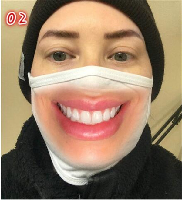 Reusable 3D Printing Cartoon face masks Mouth Mask Funny Dustproof Mask Ultraviolet-proof Washable Running Riding Face Mask