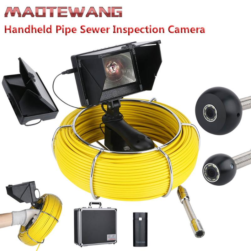 Pipe Inspection Camera 10-Inch Endoscope 17mm Industrial Pipe Sewer Inspection Video Camera IP68 Waterproof Drain Pipe Sewer Borescope System 1000 TVL Camera with 8pcs LED Lights,20M