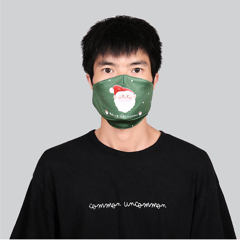 2020 Christmas Face Mask Washable Reusable Mouth Masks Ice Silk Cloth Breathable Anti Dust Protective Adult Kids Fashion Party Masks
