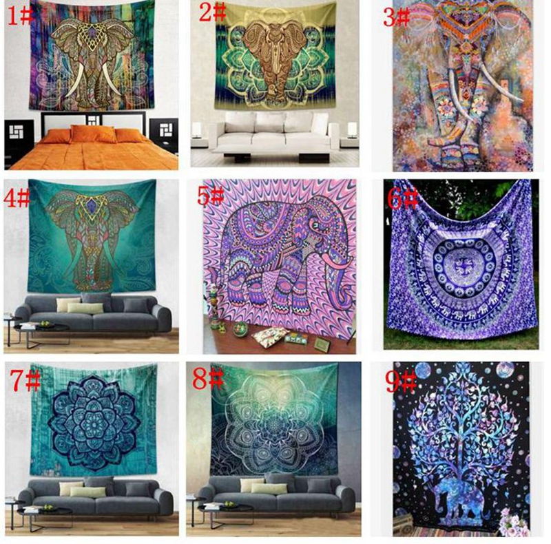 150*130cm Tapestry Wall Hanging Indian Mandala Bohemian Tapestry Hippie Tapestry polyester Wall Decor Dorm Decor KKA4499