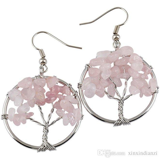 5 Styles Tree of life Charm Earrings pendant Amethyst Crystal Earrings Gemstone Chakra Jewelry Mothers Day Gifts 5 Birthday Gifts B162S