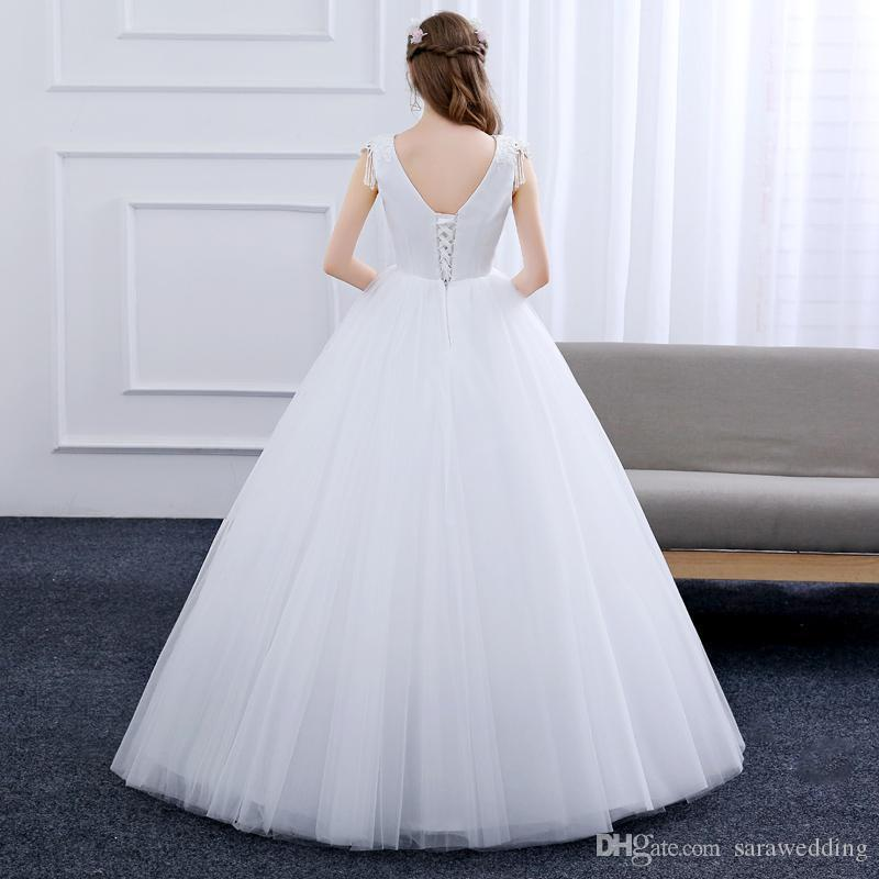 Vestidos De Noiva 2018 V Neck Tulle Ball Gown Wedding Dress Simple Bridal Gowns Lace Up