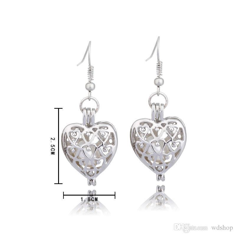 Fashion Silver Tone Love Heart Pearl Cage Pendant Earrings Fine Hollow Locket Oyster Pearl Jewelry For Women Valentine'S Day Gifts