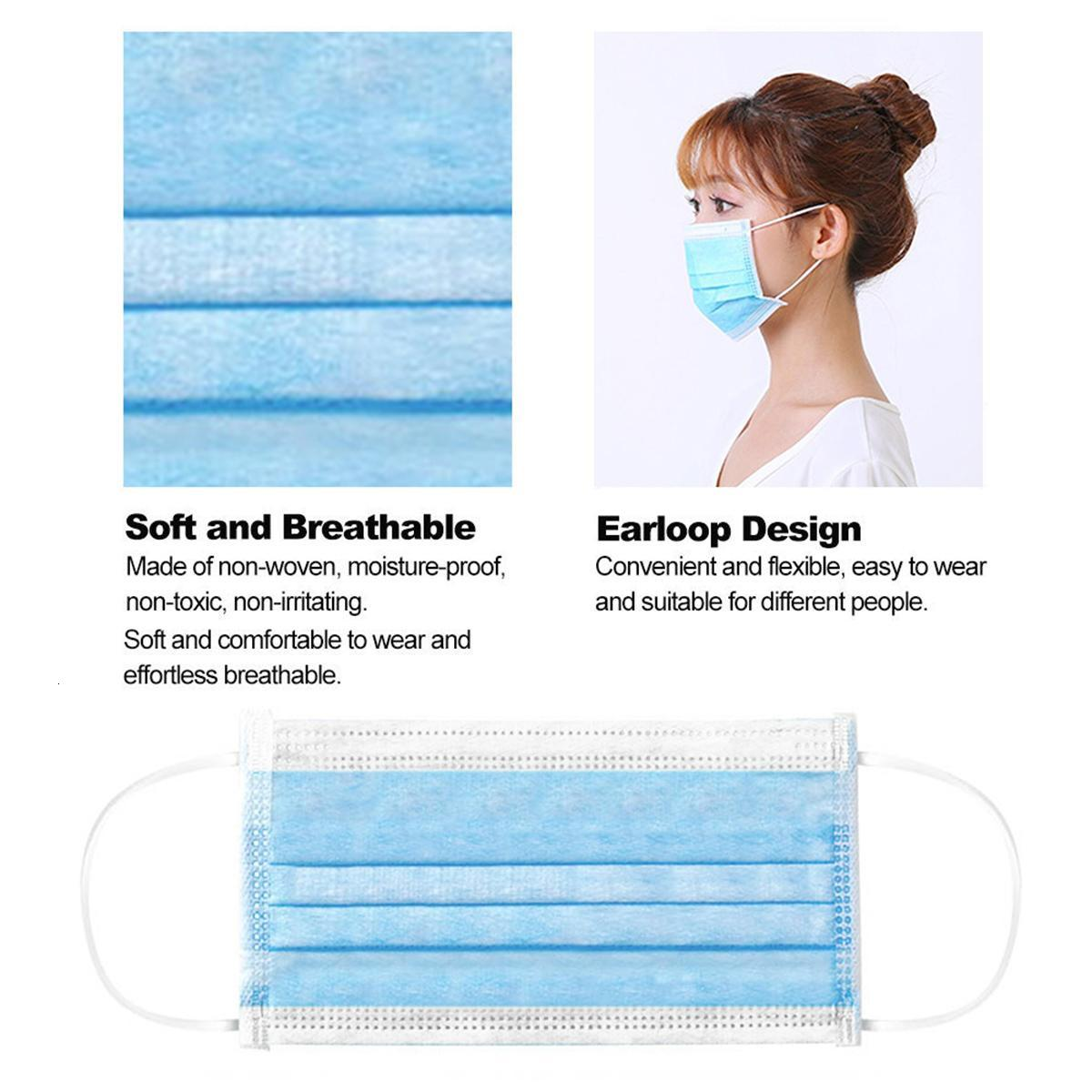 Disposable Face Masks pink white with Elastic Ear Loop 3 Ply Breathable Dust Air Anti-Pollution Face Mask mouth masks adult
