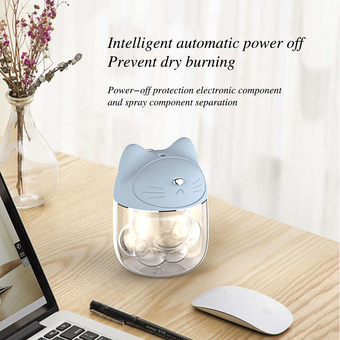 Mini 150ml Cat Claw Air Humidifier USB Ultrasonic Humidifier Essential Oil Aromotaerapy Aroma Diffuser Face Sprayer for Home