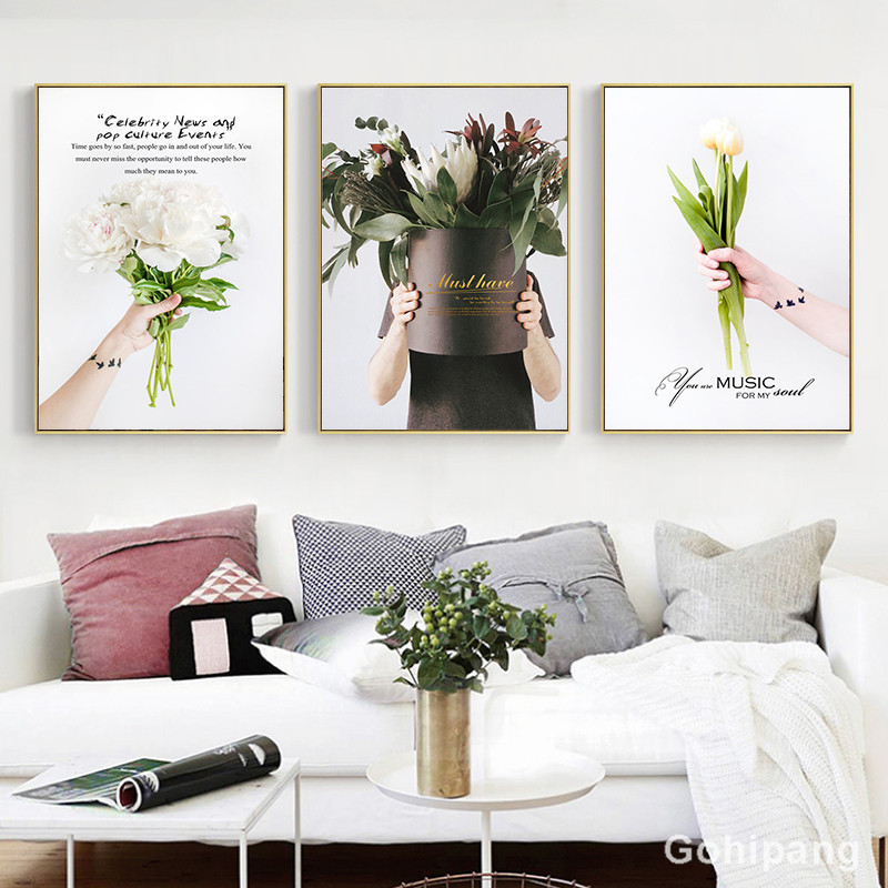 Nordic-Flower-Canvas-Painting-Home-Decor-Poster-Well-known-saying-Bouquet-Picture-Art-Print-Living-Room (2)