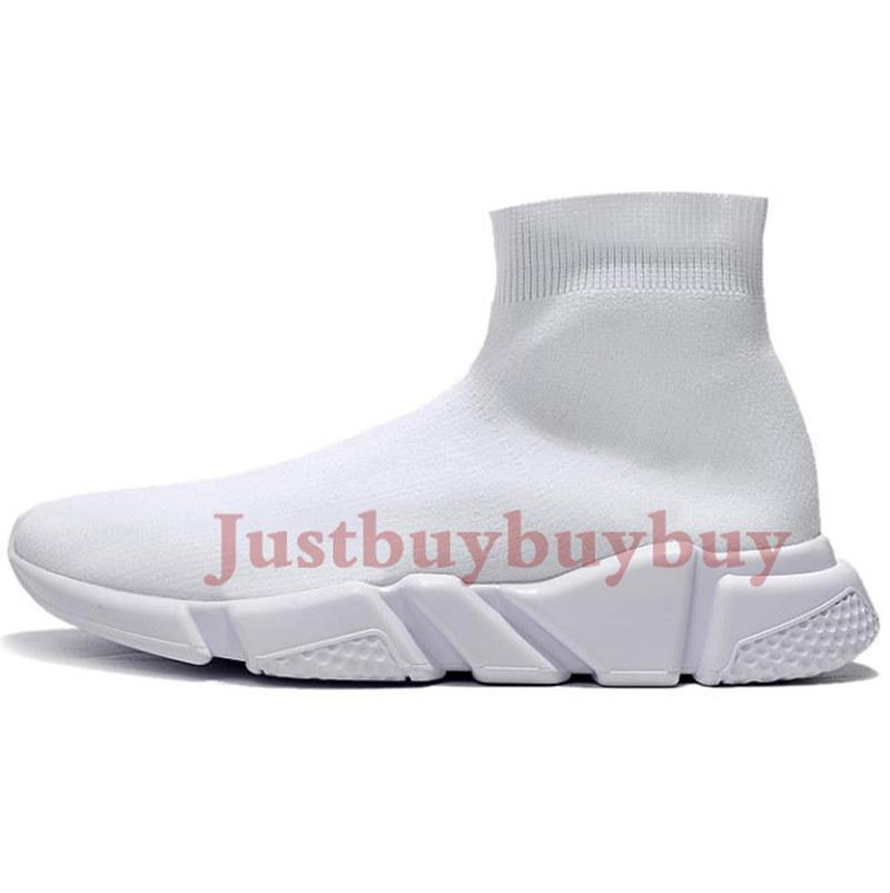 New fashion Speed Trainer men women sock casual shoes volt triple Black White grey white green oreo stretch knit mens Sneakers