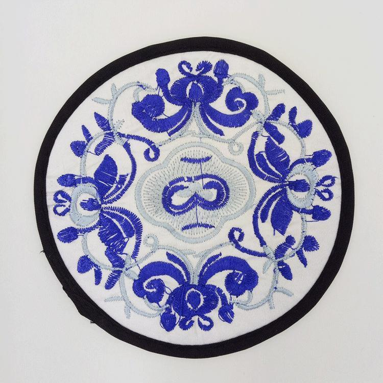 Embroidery Cloth Round Drink Coaster Table Placemats Floral Print Coffee Mug Pads Cup Coasters Heat Resistant Non Slip Table Mats DBC BH2733