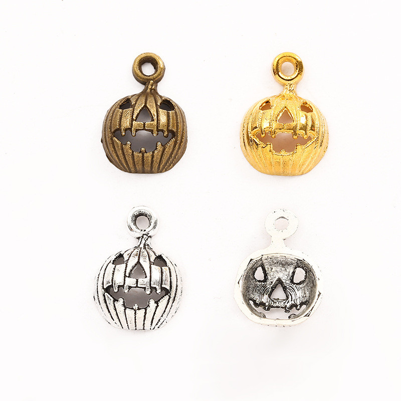 100Pcs Plated Silver Gold Halloween Pumpkin Face Charms Pendant Jewlery