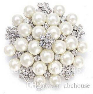Hot Sale Vintage Silver Tone Rhinestone Crystal Diamante and Faux Cream Pearl Cluster Large Bridal Bouquet Pin Brooch Jewelry