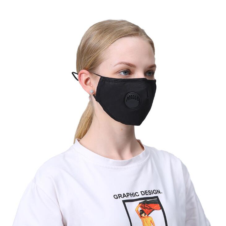 Reusable Fashion Unisex Cotton Face Masks with Breath Valve PM2.5 Mouth Mask Anti-Dust Fabric Washable Mask