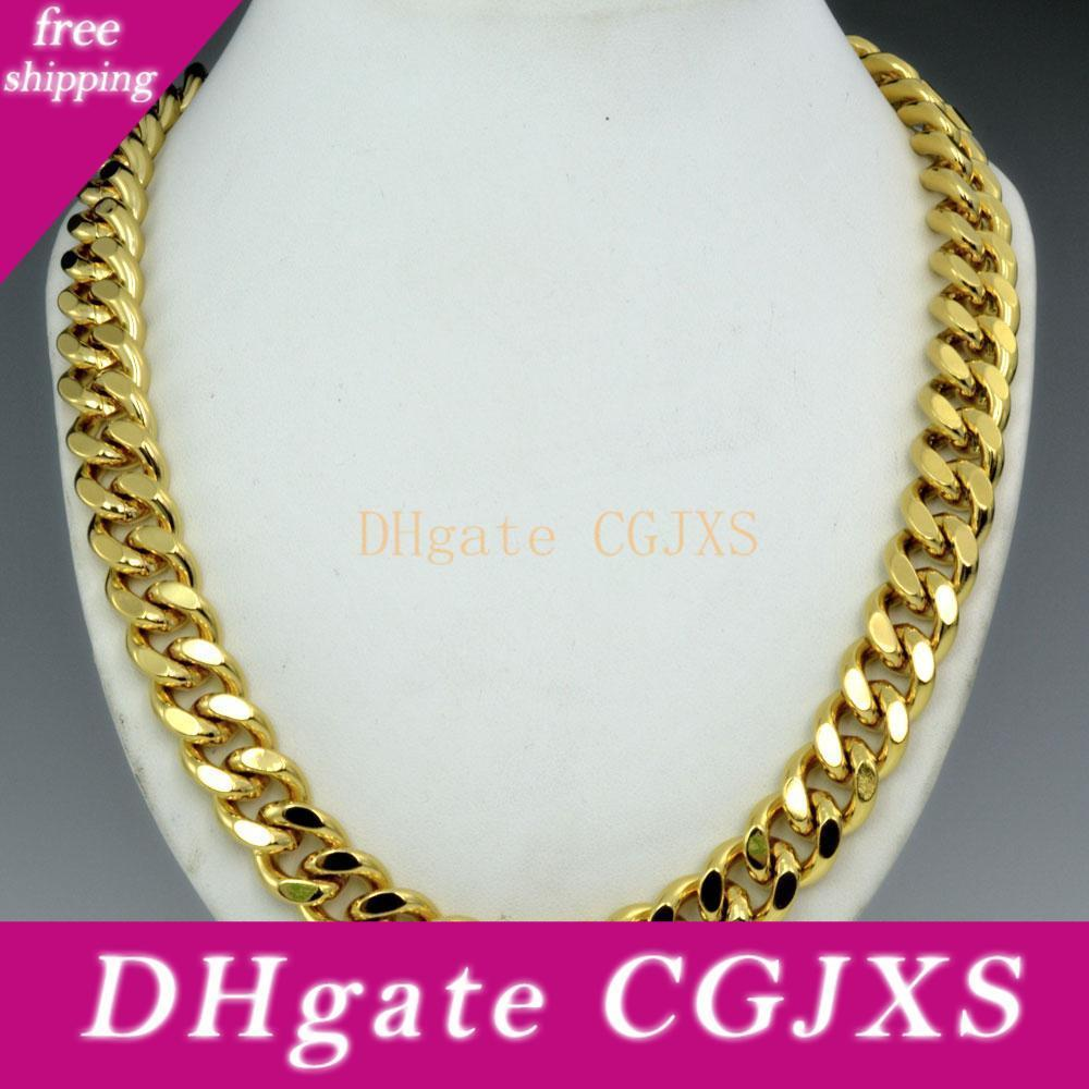 """Men/'s Necklace Link 18k Yellow Gold Filled GF 24/""""Curb Chain 10MM Fashion Jewelry"""