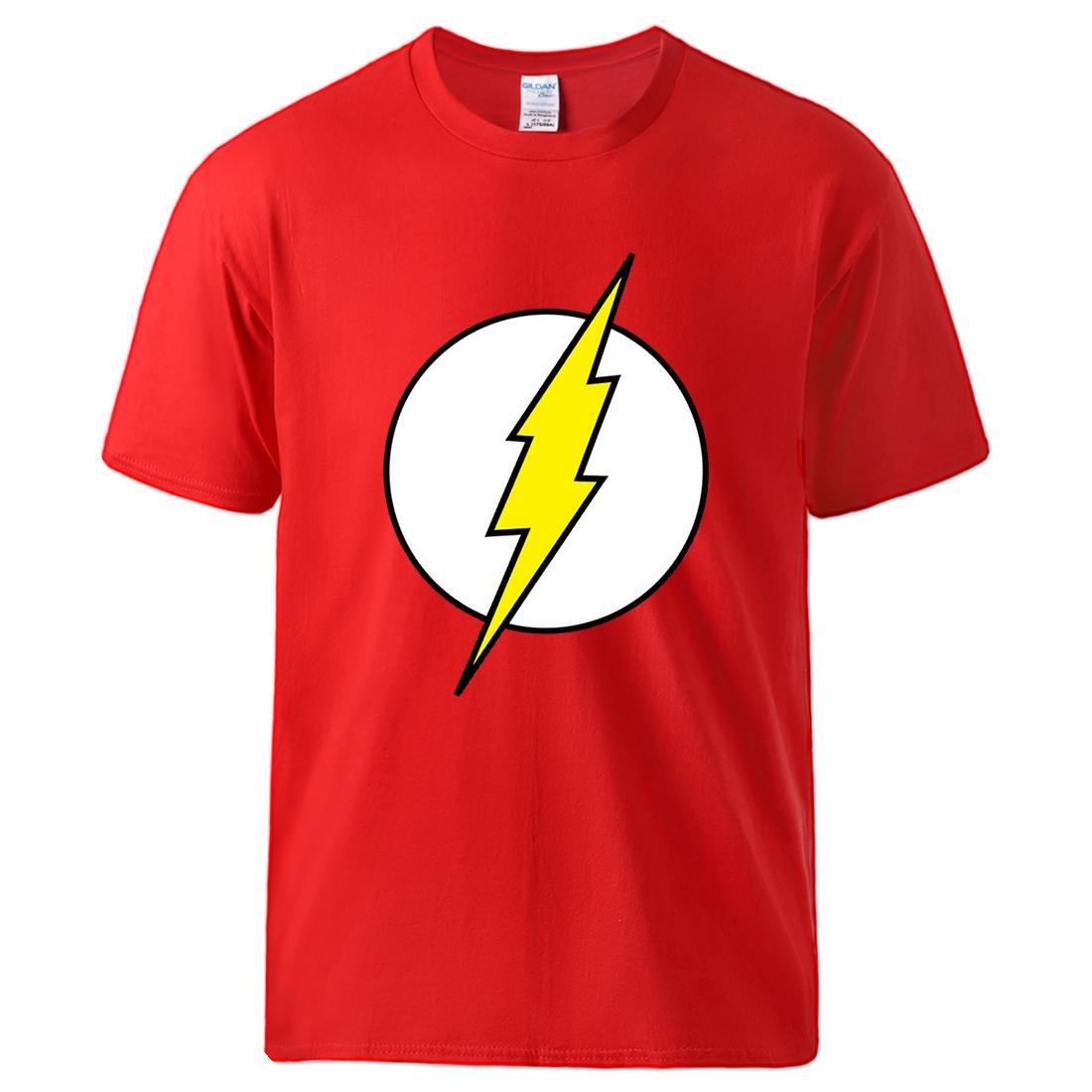 The Big Bang Theory Flash Print Mens T shirts Cotton Summer Short Sleeve Top 2020 Man Brand Hip Hop Streetwear Homme Black Tee
