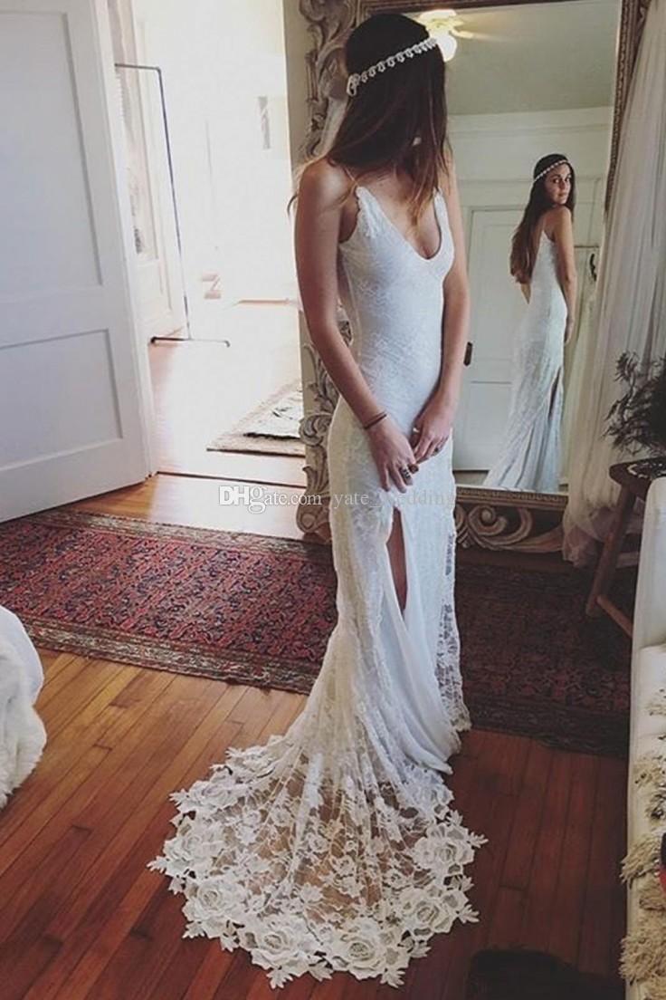 Lace Bohemian Wedding Dresses 2018 Sexy Deep V Neck Spaghetti Straps High Split Backless Wedding Gowns Beach Bridal Wedding Dresses
