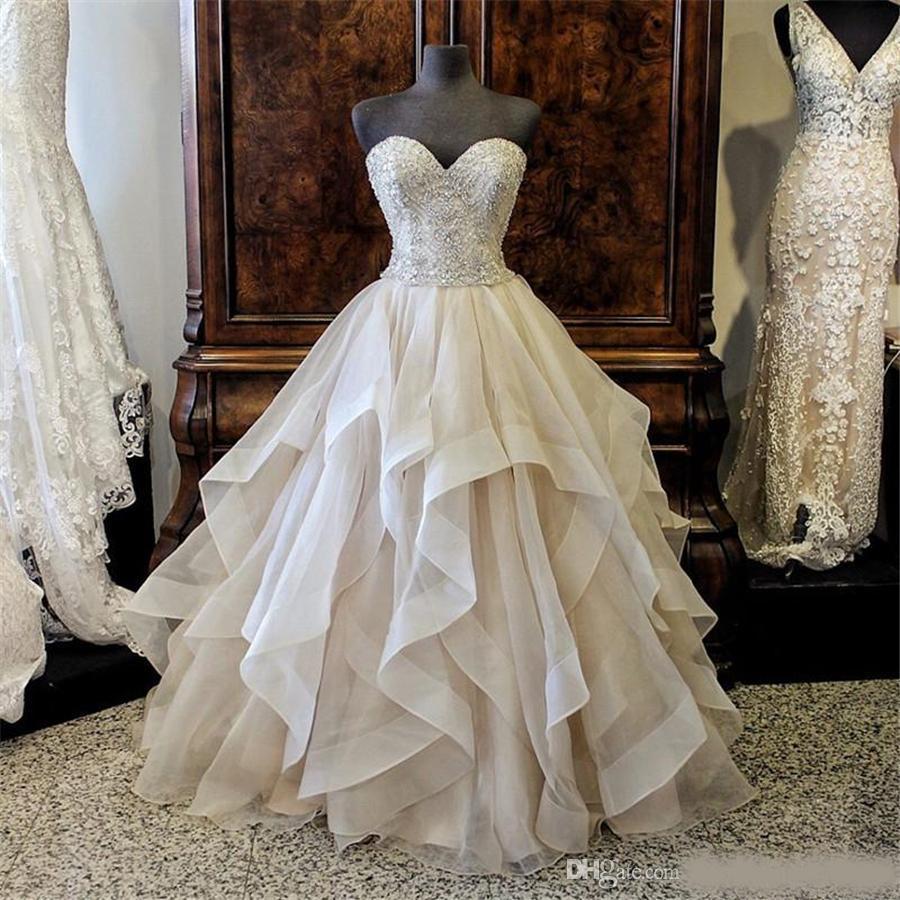Luxus Herrliche Stickerei Sicke Schatz kräuselte Organza Layered  Brautkleider Ballkleid mit Farbe Kristalle Brautkleider