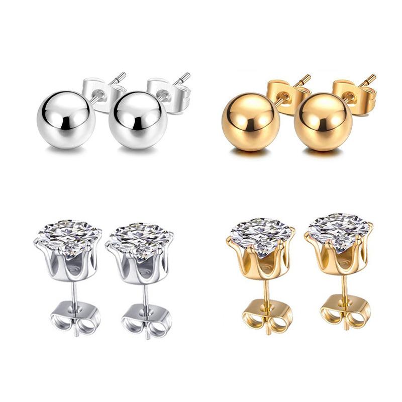 216pcs Stainless Steel Rhinestone Stud Earrings Wholesale Jewelry Mixed Lots