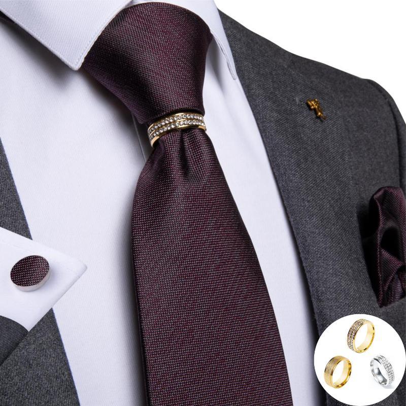 DiBanGu Formal Navy Blue Tie Necktie and Pocket Square Cufflinks Tie Clip Set