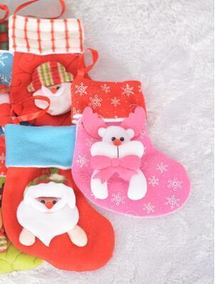 16.5*12cm Children Christmas Stockings Socks Decoration Cute Candy Bag Socks Christmas Tree Ornaments Decorations Random Color