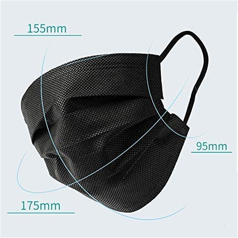 Black Disposable Face Masks Black Anti-Dust Mask Mouth Mask Anti Pollution Disposable Cotton Mouth Face Masks Non-Woven Mask