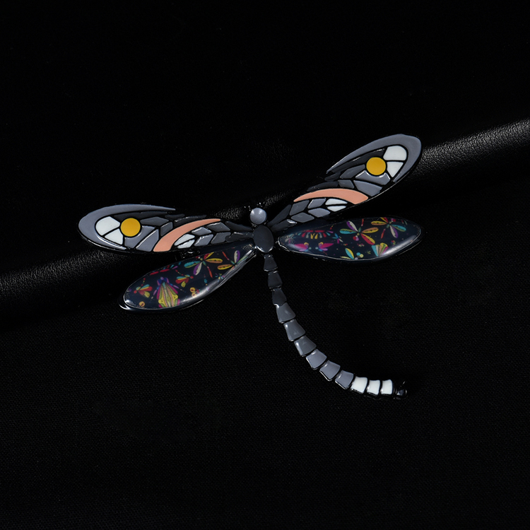 New Hot Insect Dragonfly Brooch Pins Badge Brooches for Women Trendy Enamel Metal Alloy Yellow Pink Brooch Wedding Party Jewelry
