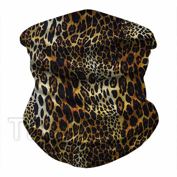 hot Leopard spot ice silk riding mask outdoor party sports mask wrist band multi-purpose magic scarf Party Masks T2I51166