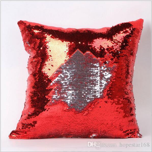 New Design Mermaid Pillow Case Cushion Cover Pillowcase Cover Double Sequin Glamour Square Pillow Case Sofa Decoration 40cm*40cm