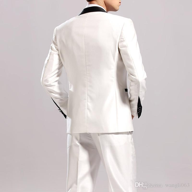 Black and White Wedding Groom Tuxedos for Business Men Suits 2018 Classic Style Two Piece One Button Jacket Pants Vest