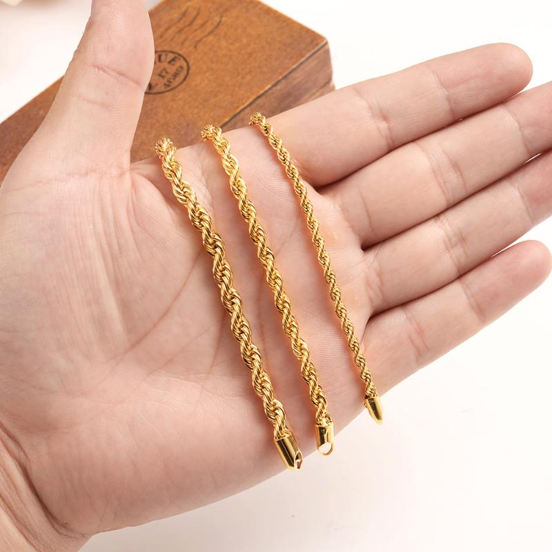 """Classic Men/'s 18K Yellow Gold Filled 6mm Twisted Rope Chain Bracelet 7.87/"""""""