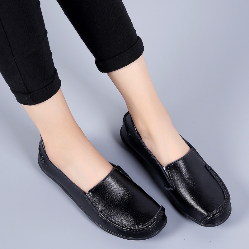 2020 Spring Autumn Plus Size Casual Round Toe Women`s Shoes New PU Leather Flat Shoes Comfortable Slip-on Ladies Flats VT998 (20)