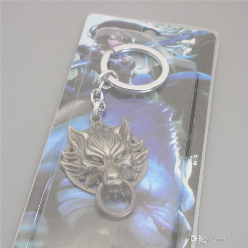 Hot Anime Final Fantasy Wolf Head Key Rings Black Car Key Rings & keychain Jewelry For Gift