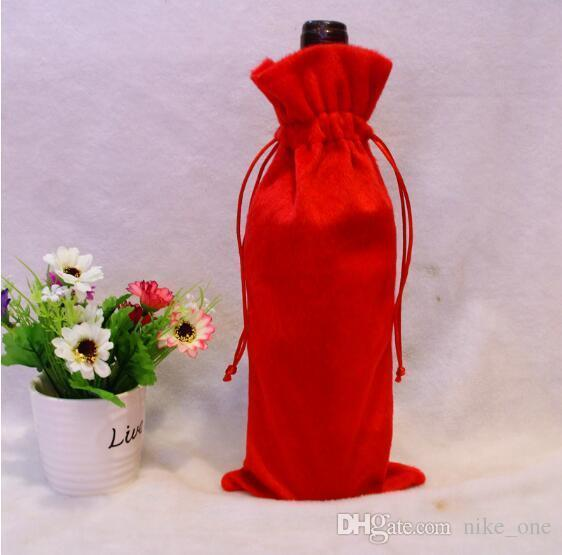 NEW Red Wine Bottle Cover Bags Christmas Dinner Table Decoration Home Party Decors Santa Claus Wine