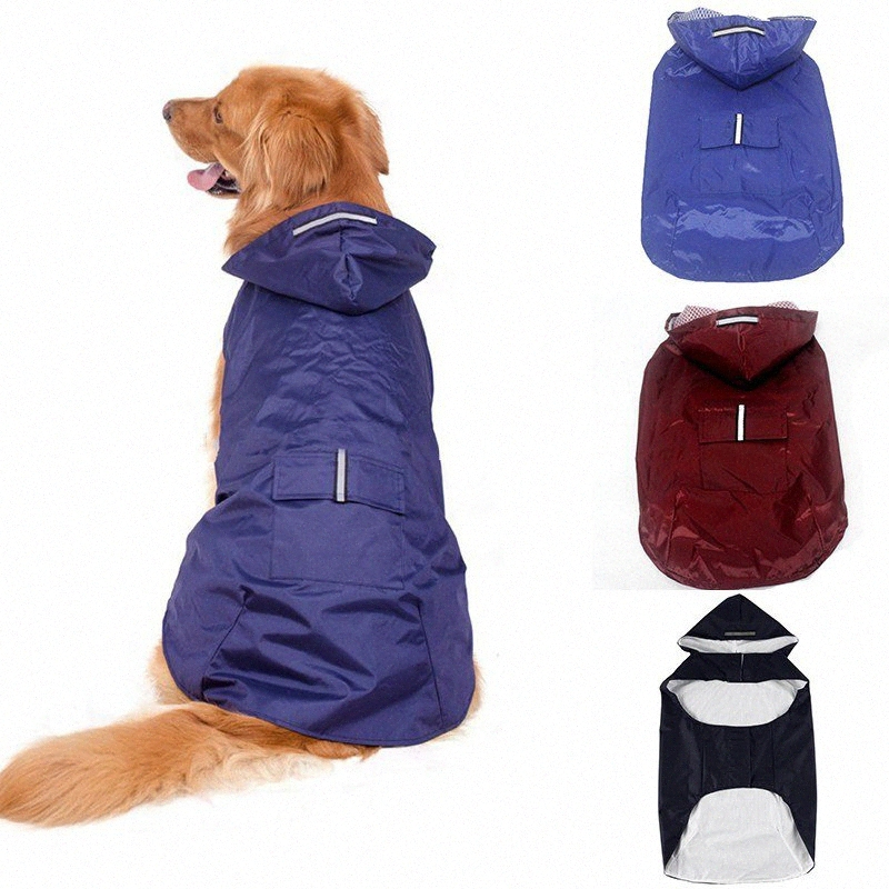 M /& L Mascota Perro Impermeable Lluvia Abrigo Chaqueta Con Capucha Mono en Azul y Rosa S