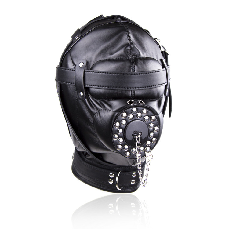 Leather Oral Sex Slave Mask Harness Bondage Gear Fetish Erotic BDSM Sex Toys For Couples Adult Games Hood Restraints