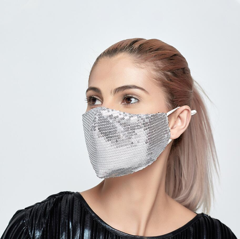 Fashion Bling Bling Sequin Face Mask Spring Summer Outdoor Suncreen Anti-dust Breathable Washable Face Mask Reusable