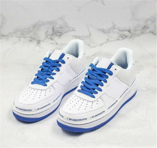 With Box Forced 1 07 x UNINTERRUPTED Skateboard Shoes 1s Designer I am UNINTERRUPTED White Blue Brand Sport Sneakers