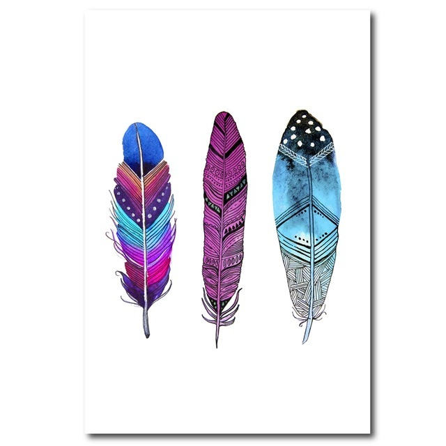 Watercolor-Colorful-Feather-Canvas-Art-Print-Poster-Hand-Drawn-Feathers-Native-Painting-Wall-Pictures-For-Home.jpg_640x640
