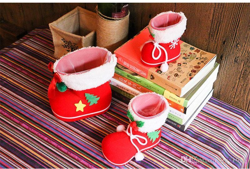 New Christmas Decorations Candy Boots Children Gift Christmas Tree Creative Bags Candy Box Pen Container Flocking Upper