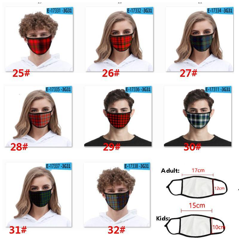 Fashion 3D Plaid Face Mask For Adult Kids Ice Silk Dustproof Mouth Mask Windproof Washable Reusable Protective Designer Mask HH9-3157