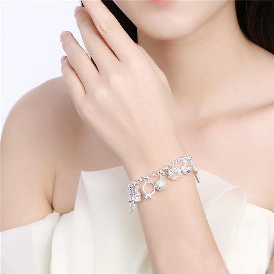 Wholesale fashionable hot women's 925 sterling silver bracelet 925 silver bracelet jewelry womens accessoires