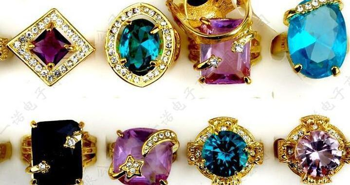 Gorgeous Wedding Rings Big Crystal Zircon Gem Gold Plated Bride Ring mix Style Multi Design Personalized Women Jewelry
