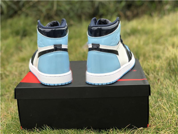 2019 New Release 1 High OG UNC Patent ASG WMNS 1S Obsidian Blue Chill-White Basketball Shoes Sneakers