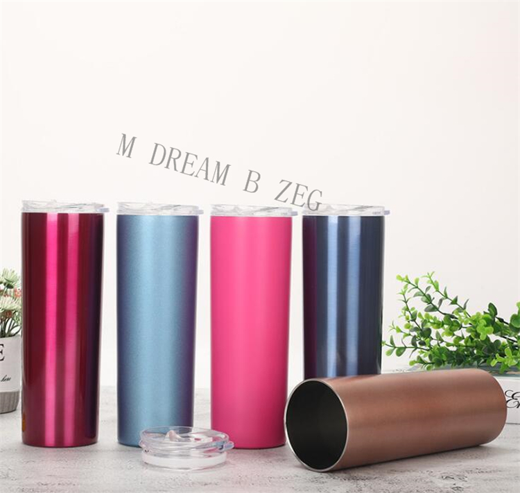 20OZ Stainless Steel Skinny Tumbler Vacuum Insulated Straight Cup Beer Coffee Mug Wine Glasses With Lids Water Bottle Straws Cup